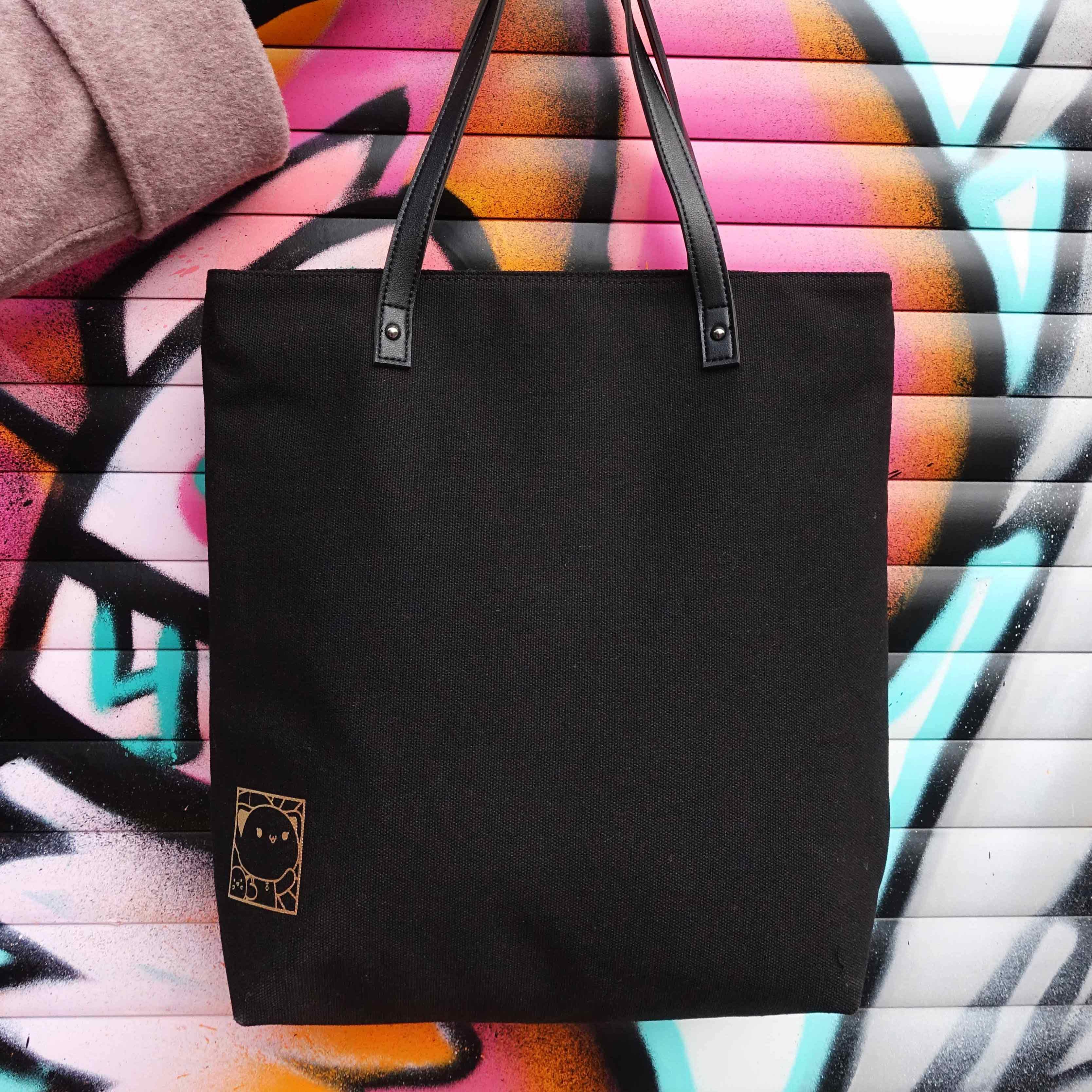 西子猫猫 烫金黑色单肩手拎帆布包中性潮款环保购物袋设计师新款