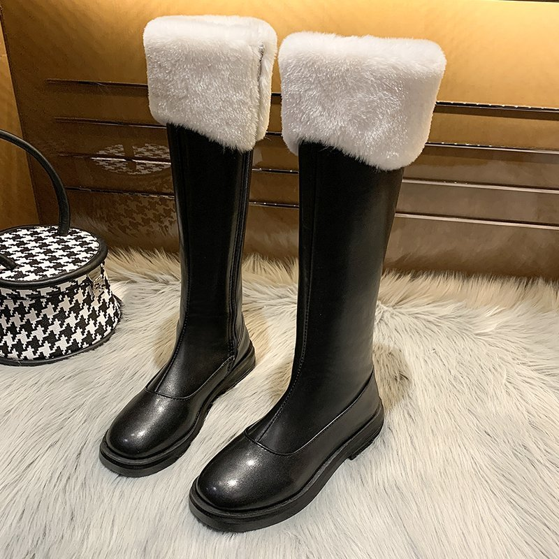High tube womens boots Plush Knight boots long boots womens knee length womens boots 2020 new thick heel thick bottom autumn and winter cotton boots