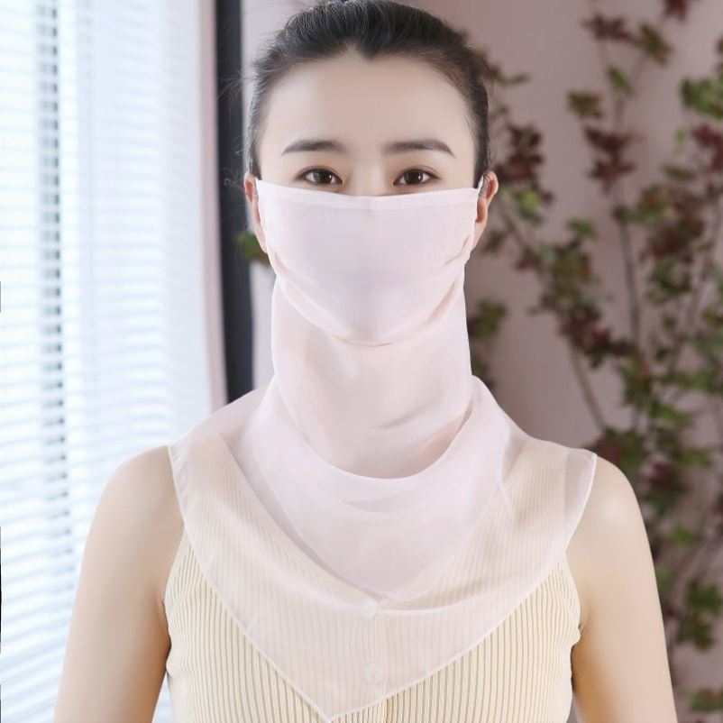 Double layer super large wrapped neck protection silk scarf for face comfort 2021 new summer Bib face mask for outdoor light neck cover