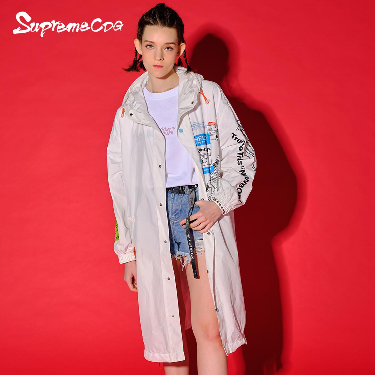 Supremecdg2020年新款街头摇滚女士长款风衣 米兰国际时装周款
