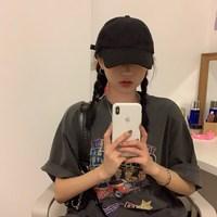 原久美子追星女孩のTEE~慵懒少女复古摇滚乐队印花冷淡灰短袖T恤