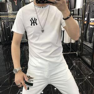 悦优选短袖男2020夏季新款休闲字母刺绣双丝光体恤上衣男青年潮