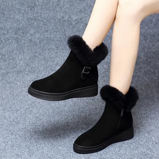 雪地靴2019新款真皮鞋子一脚蹬加厚底毛毛短靴女时尚棉鞋冬季加绒