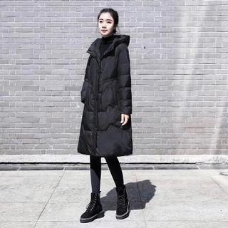 2020年新款冬装韩版女装中长款收腰显瘦黑色羽绒服时尚白鸭绒外套