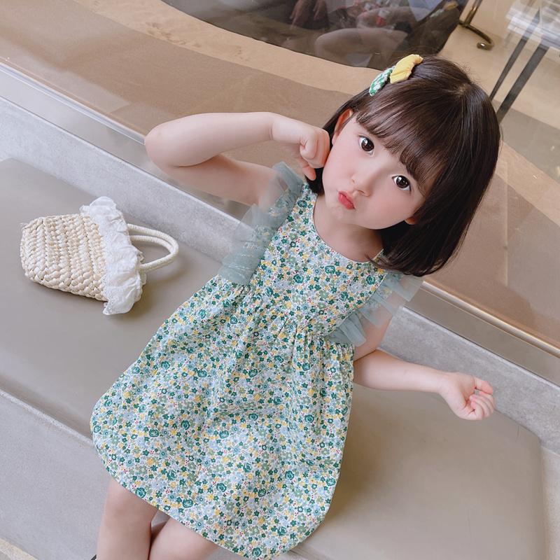 女童连衣裙夏装儿童装背心裙子2021新款洋气宝宝公主裙小女孩碎花