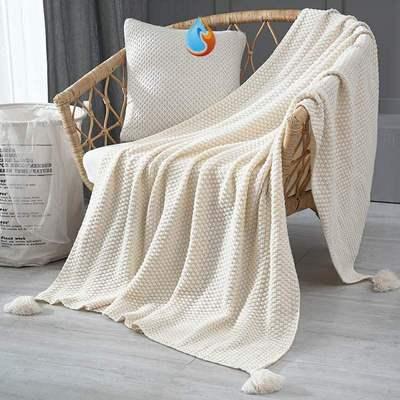 。 Ins Nordic sofa cover blanket office nap blanket tassel