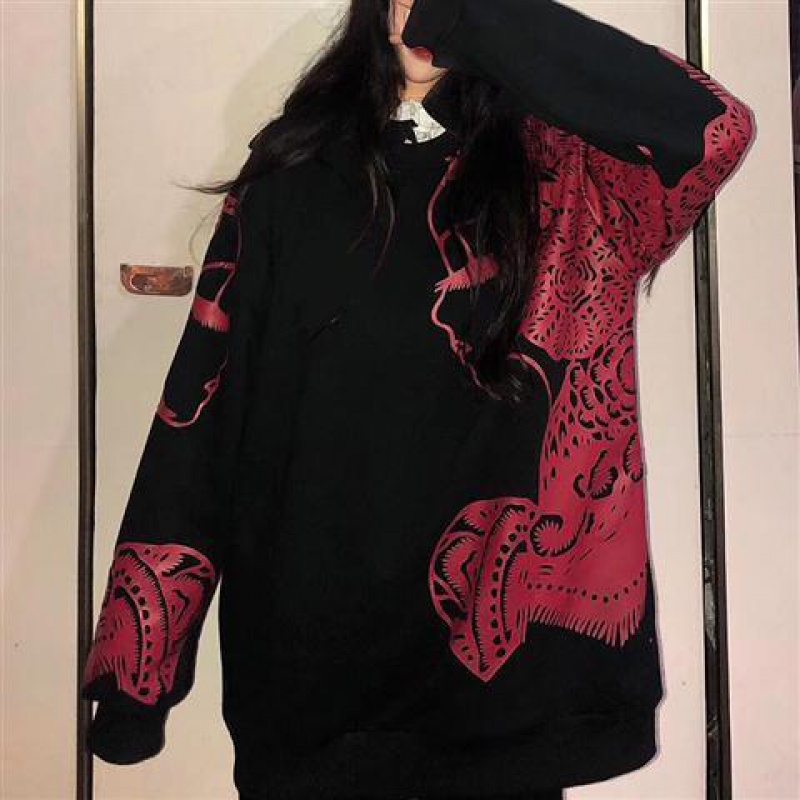 Spring new fashion Chinese style paper cut pattern sports casual loose hooded sweater cardigan jacket for men and women