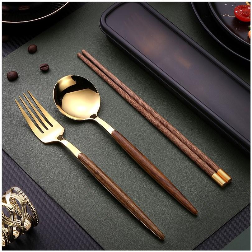 便携餐具筷子勺子套装学生上班族餐具盒便携式筷子勺子叉子三件套