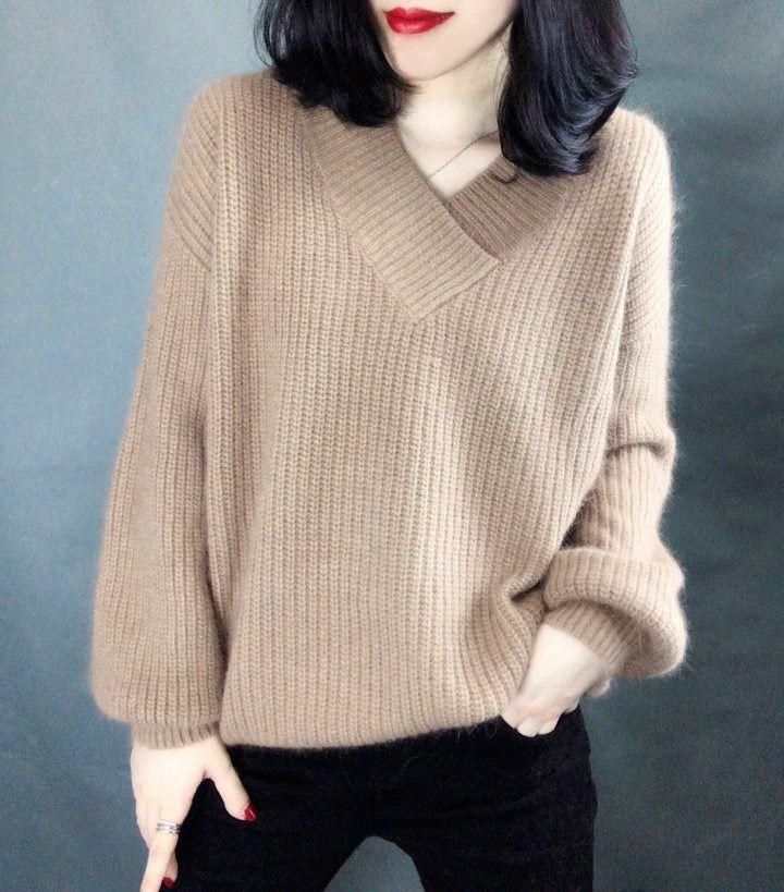 LS逸品硕20秋冬季新款加厚V领毛衣女短款长袖宽松