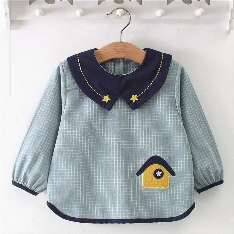 宝宝吃饭罩衣秋冬长袖男女儿童小房子反穿衣婴儿围兜防水护衣罩衫