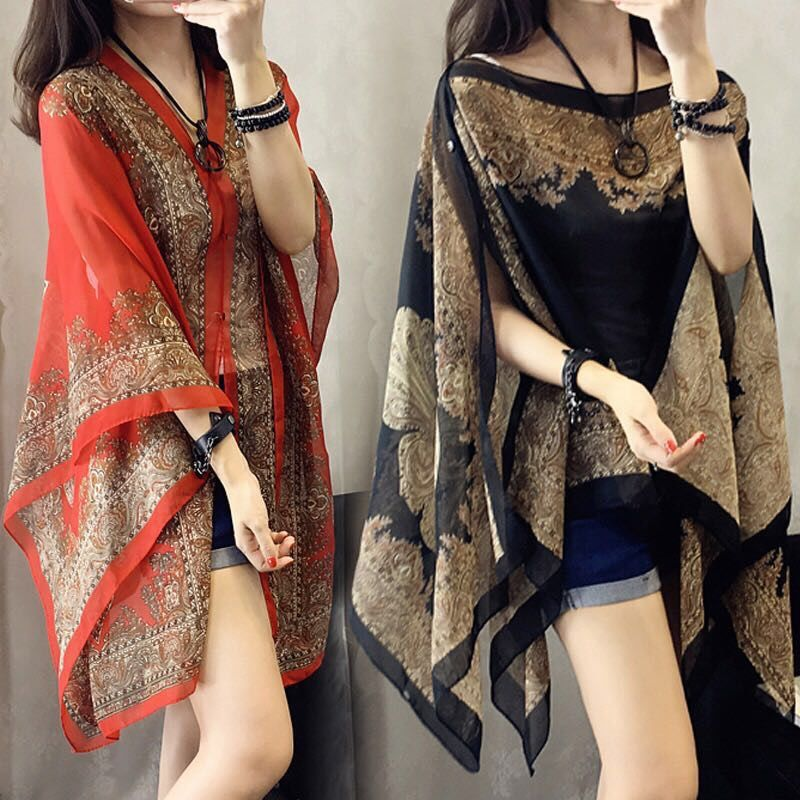 Versatile shawl spring and summer new retro National Snow spinning shirt coat Cape sunscreen clothing womens yarn scarves