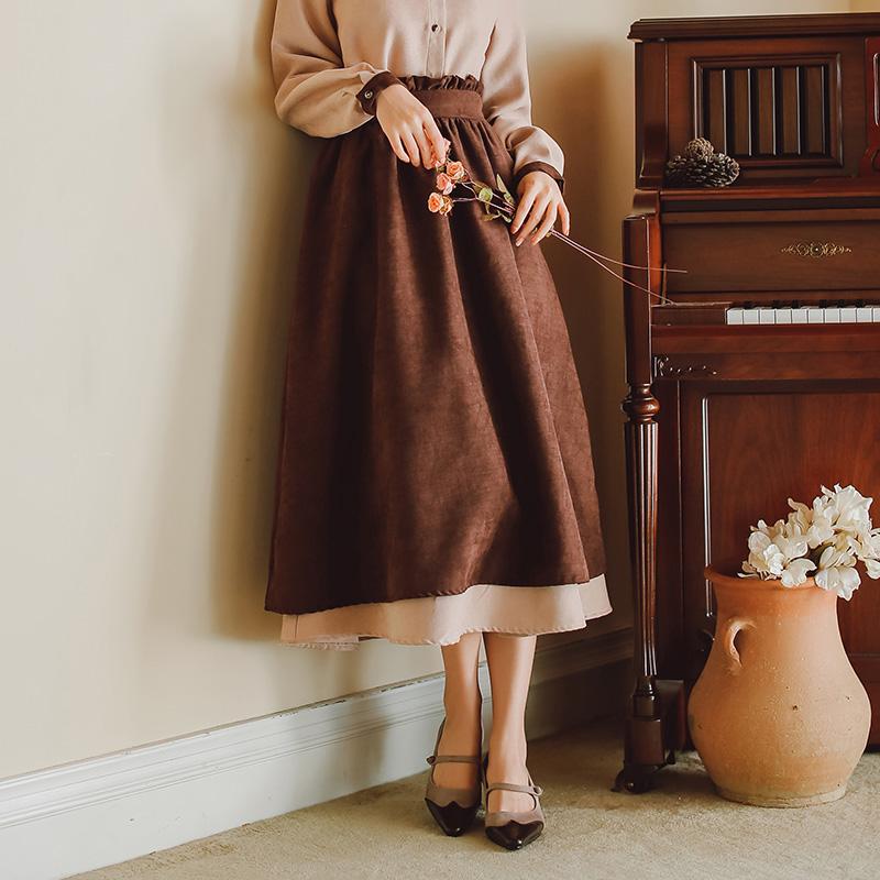 文艺复半身裙女2020春夏新款法式复古过膝花苞女文艺长裙A型裙子