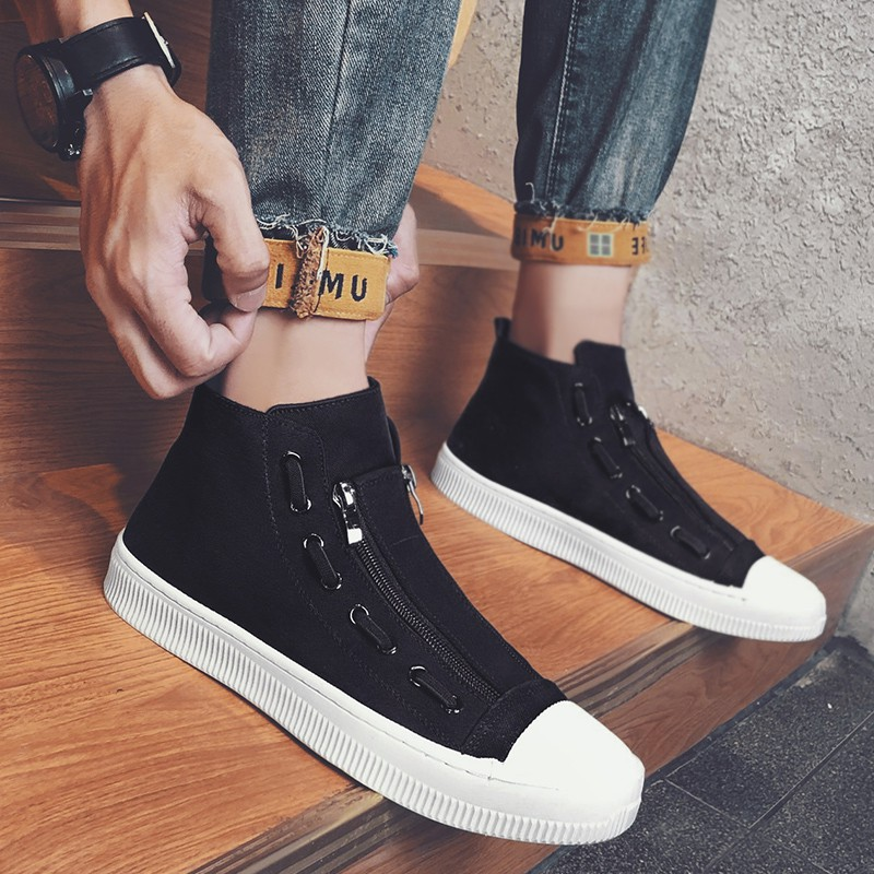 New style net red mens shoes autumn and winter high top shoes without shoelaces