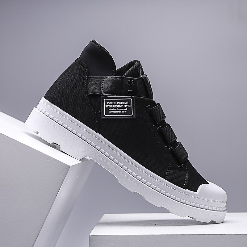 2020 Europe South Korea famous autumn red high top shoes mens Korean Trend no shoelace canvas Zhongbang board shoes hip hop 100