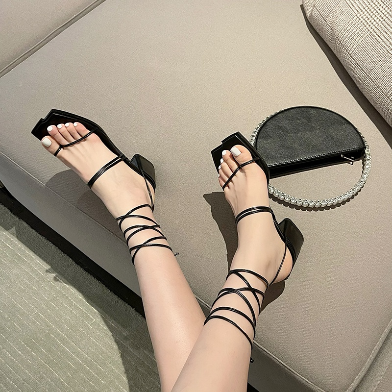 Korean thick heel sandals womens 2021 summer new fairy style square head hollow clip toe HIGH HEEL ANKLE STRAP ROMAN shoes