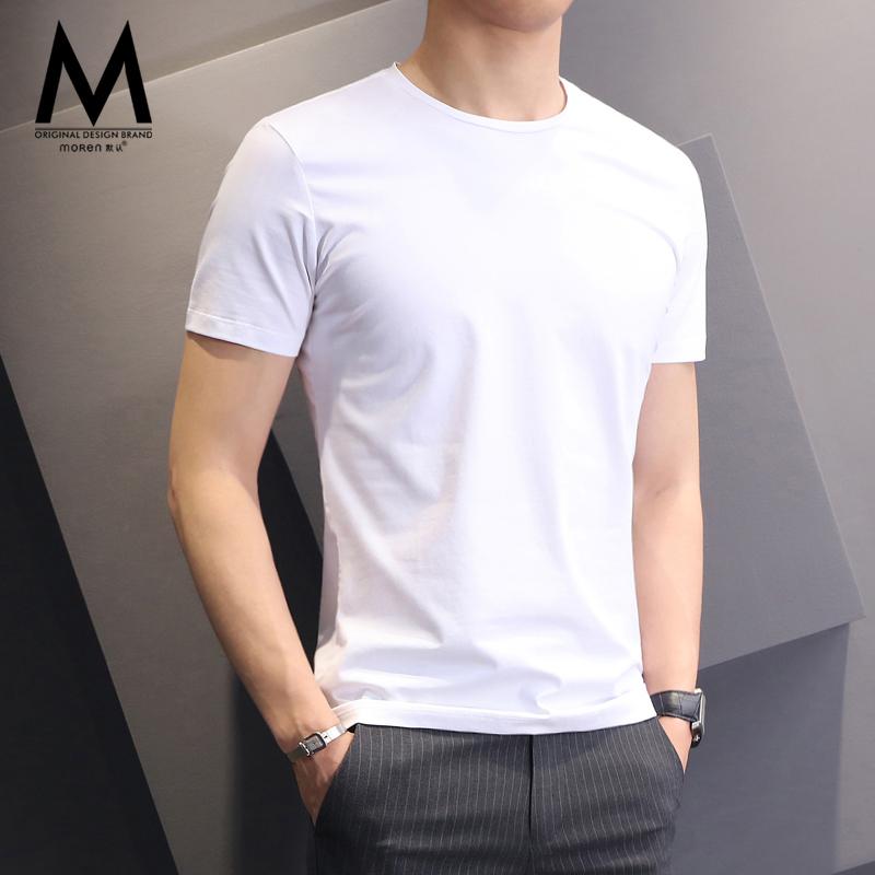 白色短袖T恤男夏季纯色圆领体恤衣服黑色修身纯棉冰丝打底衫上衣
