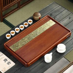 花梨木铜片整块实木家用茶盘功夫茶具茶托盘简约茶海红木干泡茶台