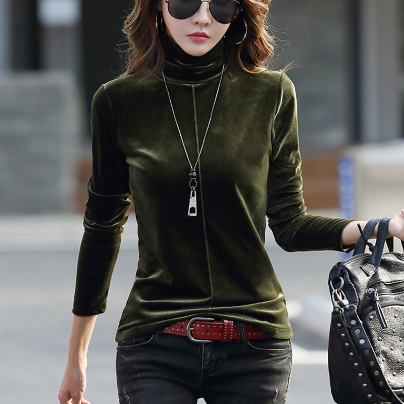2020 spring new rutting fashion with thickened velvet small high collar long sleeve T-shirt