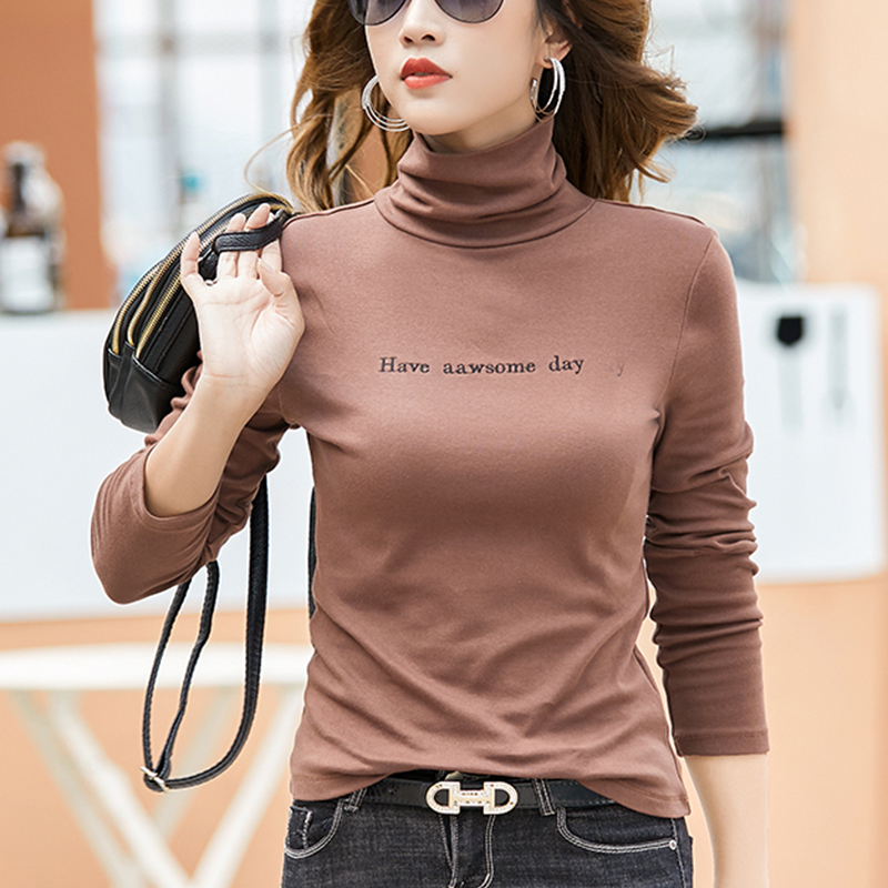 Womens new cotton high collar solid color long sleeve bottomed shirt letter embroidery stretch slim black T-shirt