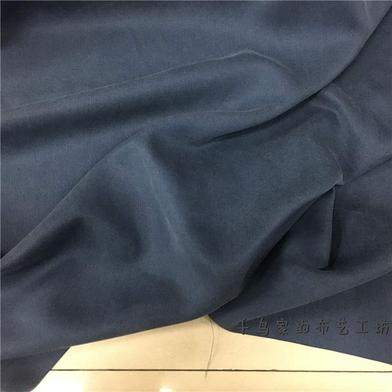New drop solid blue grey twill frost feeling sand washed cotton cotton fabric windbreaker coat dress pants fabric