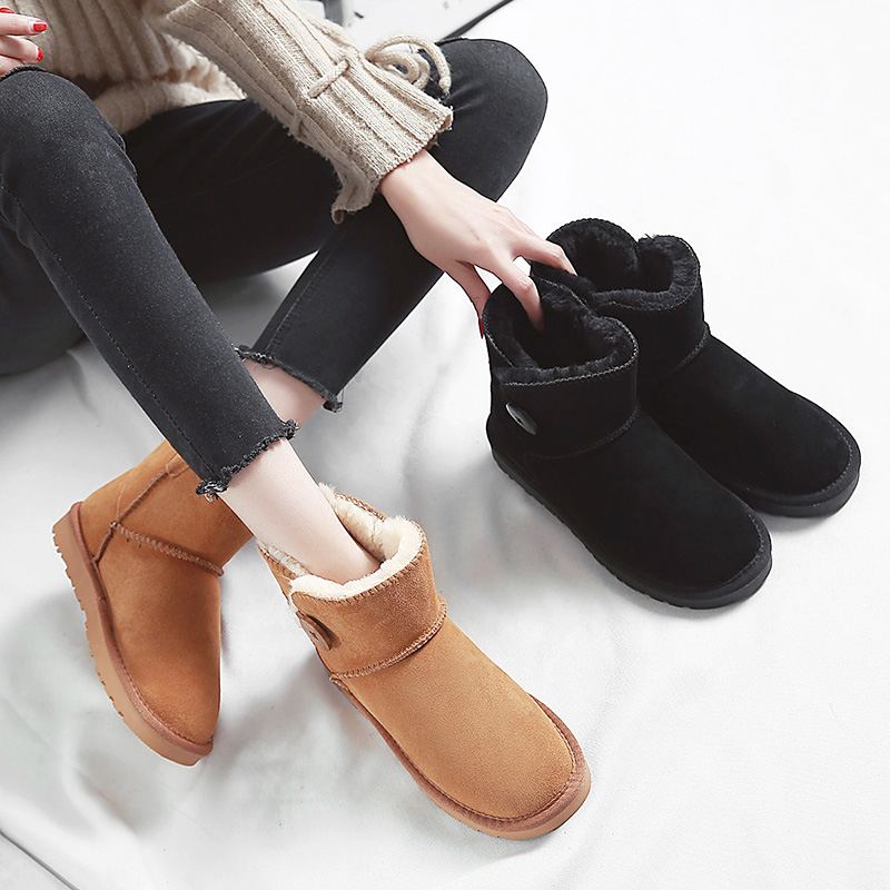 Leather snow boots womens short tube fashionable buttons student short boots thickened Plush warm cotton shoes winter bread shoes