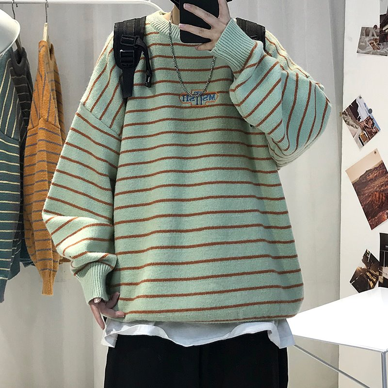 。 Small menswear small XS size s Les handsome t trendy loose port Style Mens trendy striped long sleeve sweater 1