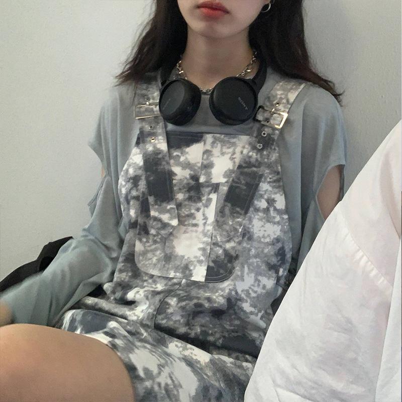 ERYU11 復古方領扎染連衣裙女2020新款女夏小眾寬松顯瘦A字背帶裙