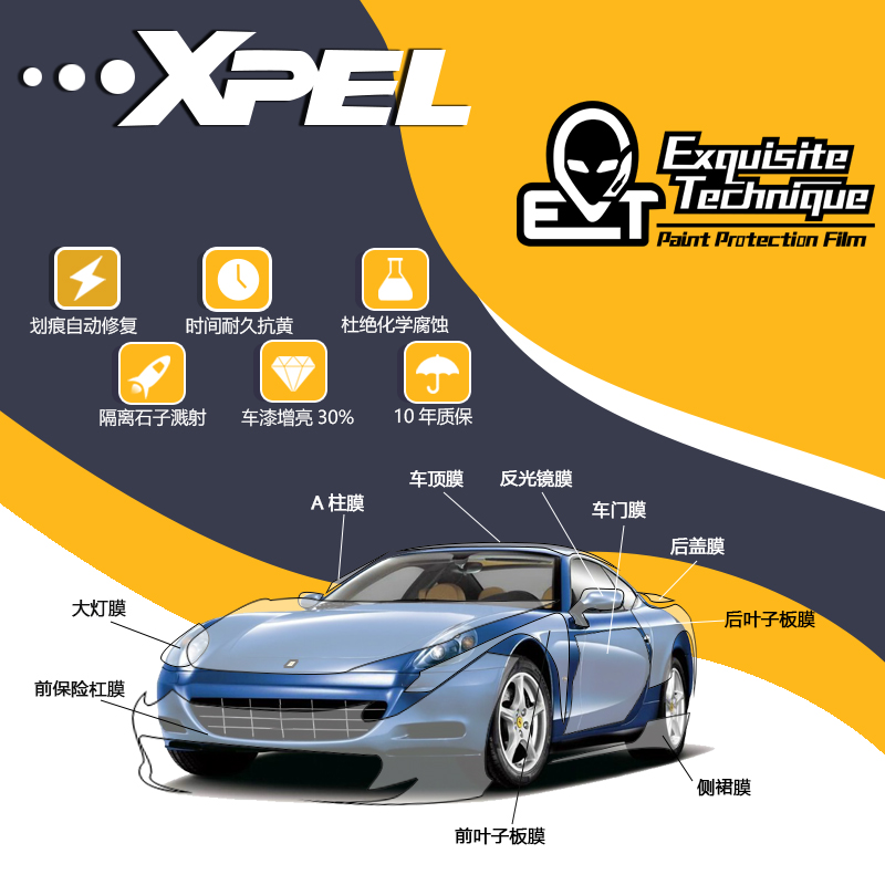 Xpel invisible car cover film whole body car rhinoceros skin paint protective film anti scratch transparent film package construction