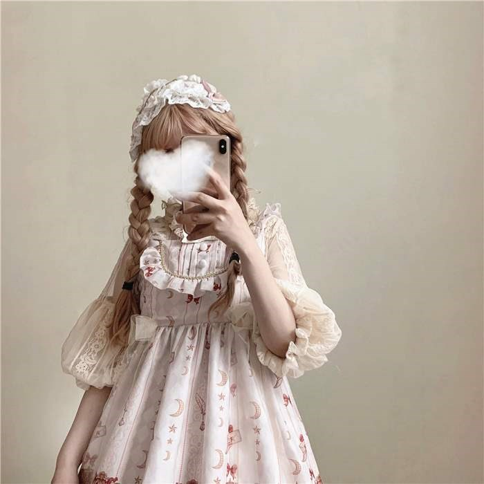Original Lolita Lolita cream tower with shirt, delicate lace bubble sleeve and tie back Shirt Top
