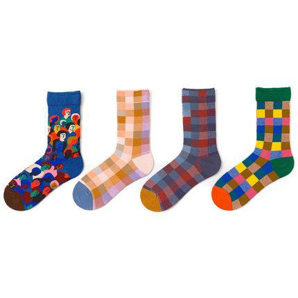 【2双装】法国设计卡通涂鸦插画艺术彩色花袜中筒袜男女情侣袜子
