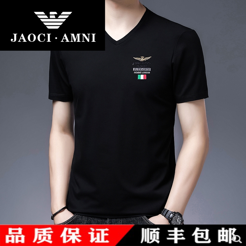 Counter authentic mens V-neck short sleeve T-shirt loose Size Cotton ice silk T-shirt 2021 summer fashion