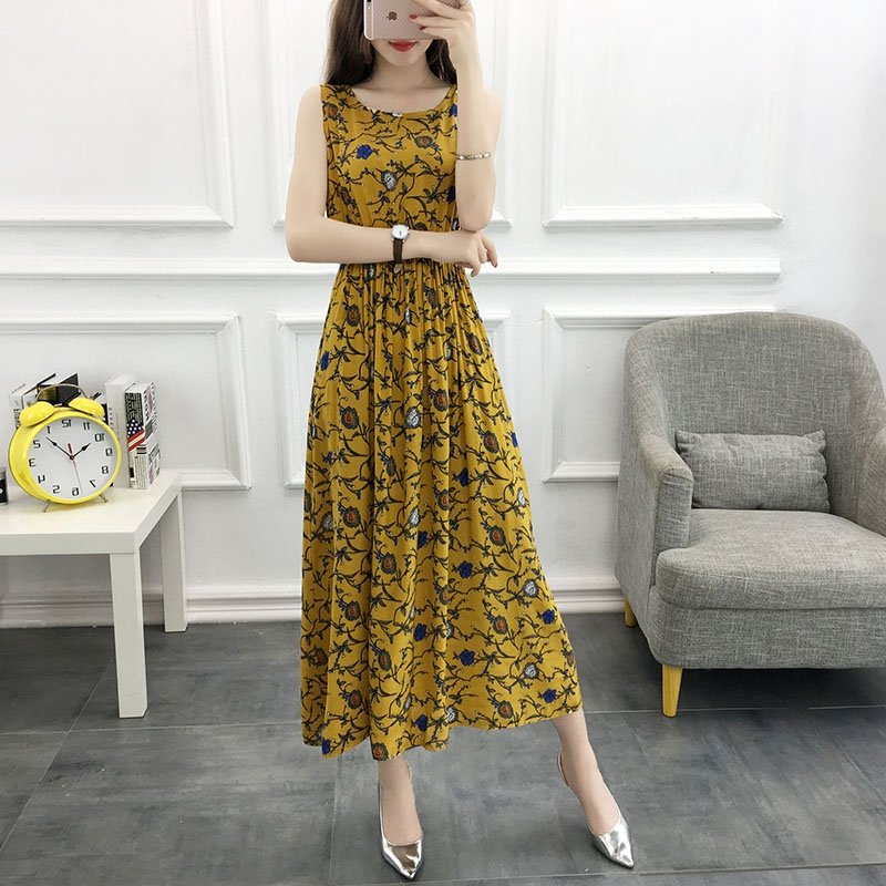 棉绸连衣裙2020新款轻熟气质夏天显瘦长裙女夏季碎花无袖背心裙子