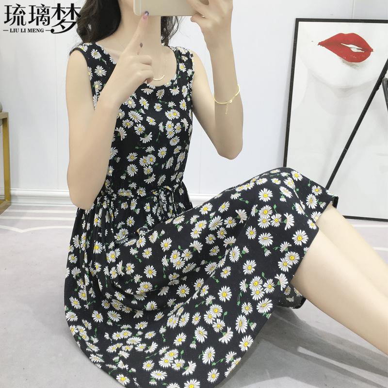 2020年流行女装新款夏季小雏菊碎花棉绸连衣裙可爱小个子背心裙子