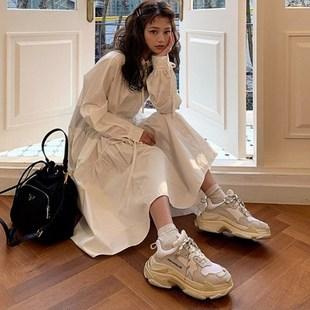 韓國chic鬼馬少女系仙仙襯衫綁帶復古寬鬆POLO領內搭長款連衣裙女