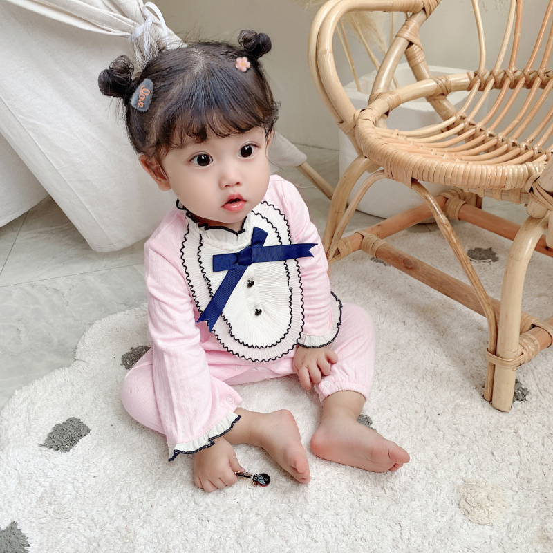 Baby autumn clothes one-piece clothes long sleeve climbing clothes hundred days foreign style female baobaoqiu winter clothes thin pure cotton Princess ha clothes