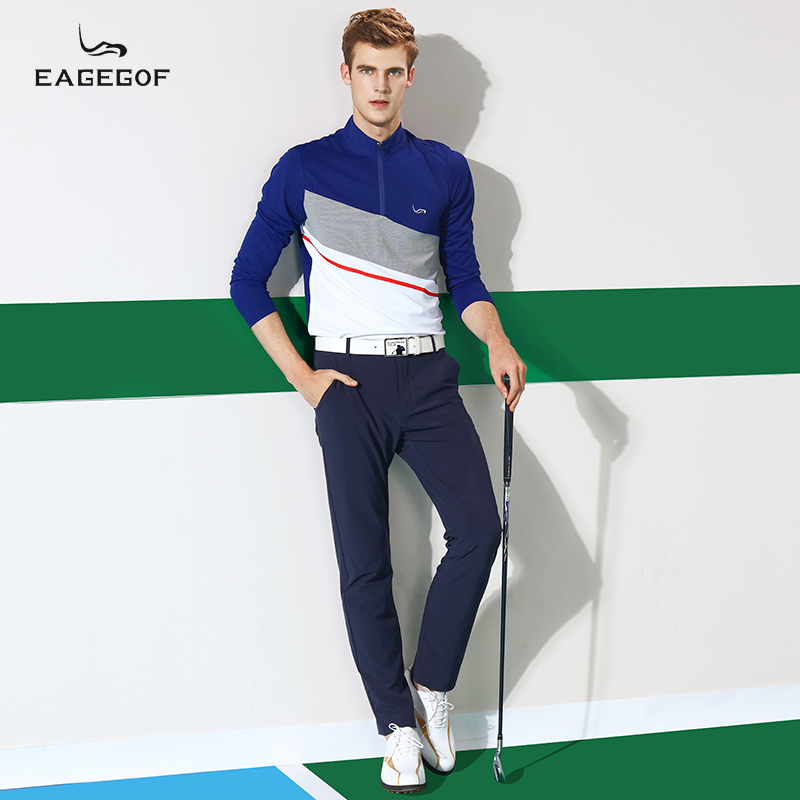 EAGEGOF新款男装t恤polo衫 长袖商务翻领T恤秋冬户外运动吸湿排汗