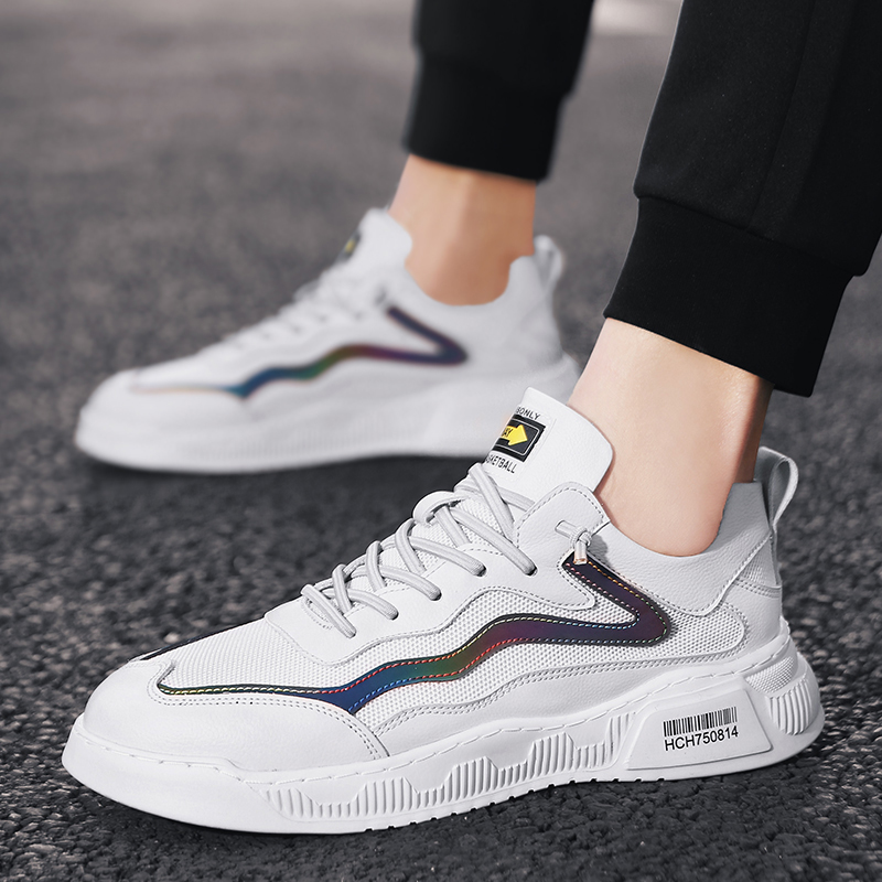 Spring 2020 new fashion shoes mens shoes board shoes versatile trend sports casual reflective small white shoes