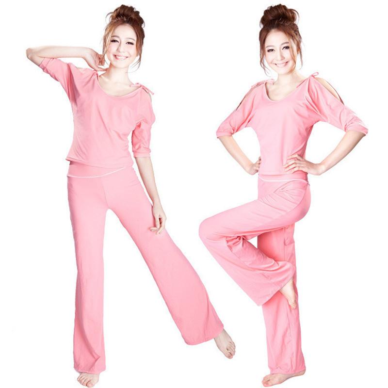 款显瘦瑜伽跑步健身工春夏新款韩国郑多燕同作服套装纯棉女