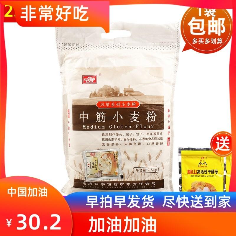 风筝中筋小麦粉2.5kg中式面点面条油条饺子馒头包子专用面粉5斤