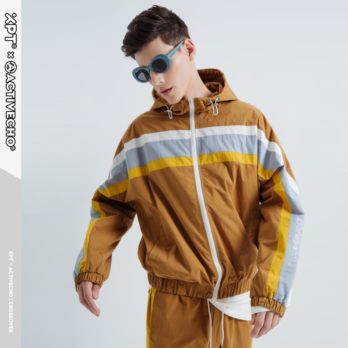 国潮连帽外套男 2020春季新款韩版潮流撞色拼接运动休闲夹克上衣