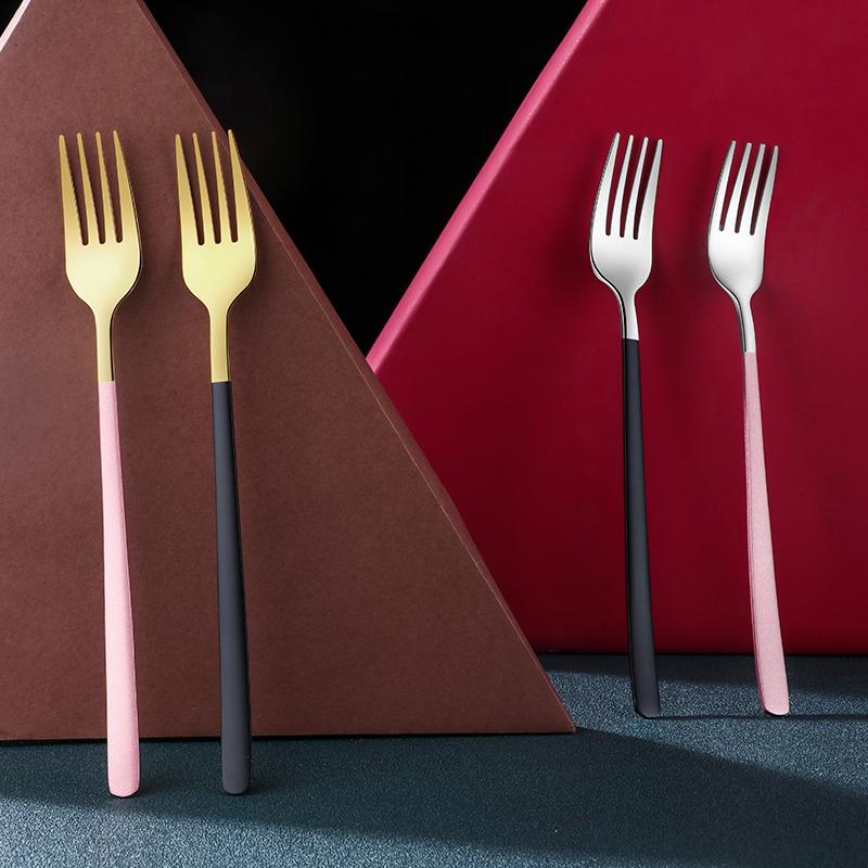彩色304不锈钢叉子餐叉西餐叉成人家用水果叉长柄沙拉甜品叉面叉