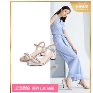 20夏新款透明一字带时尚水钻粗跟女凉鞋RL505BL0图片