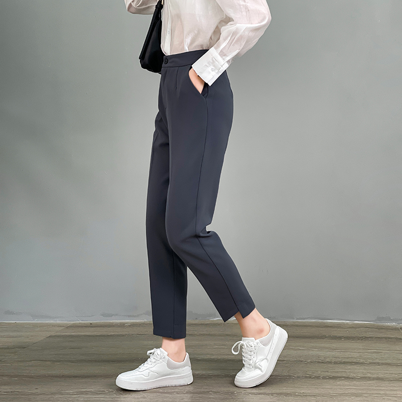Casual suit pants womens 2021 spring new Korean loose and versatile nine point Harem Pants high waist straight pipe pants