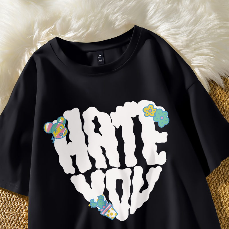 Loose t-shirt female summer black bear letter pattern ins Chaogao street port style leisure versatile simple and chic T-shirt