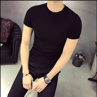 Cotton slim fit stand collar short sleeve T-shirt fashion summer sports bottoming shirt solid color tight t-shirt mens small high collar half sleeve