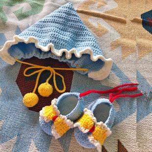 rlk宝宝鞋子帽子婴儿套装diy材料包手工钩针编织牛奶棉毛线送教程