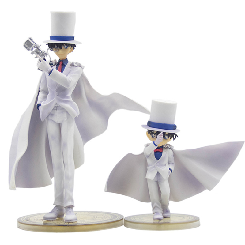 Magician white clothes strange thief Kidd with pistol black feather quick fight model Detective Conan Kudo Shinichi