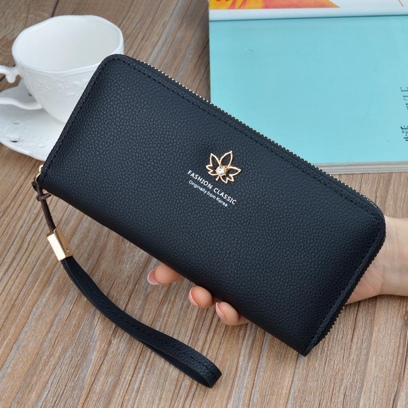 新款钱包女士长款简约时尚拉链包可放手机手拿包妈妈包大容量皮夹图片