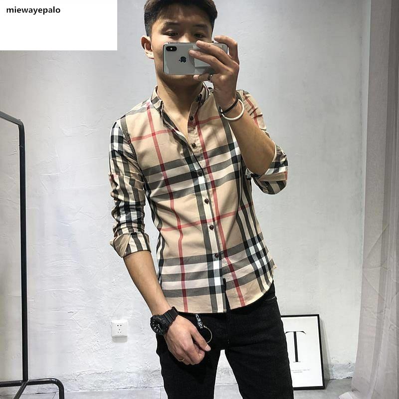 快手春季青年男士衬衫修身社会同款长袖小伙韩版衬衫红人精神格子图片