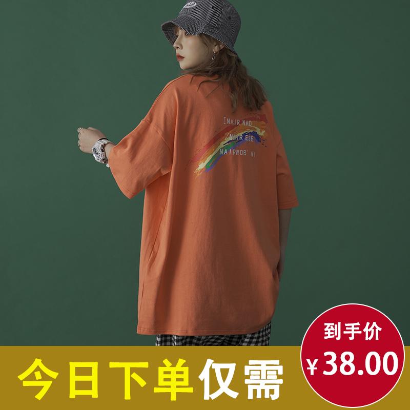 短袖女生t恤2020年新款夏装韩版上衣女装半袖ins潮衣服宽松原宿风图片